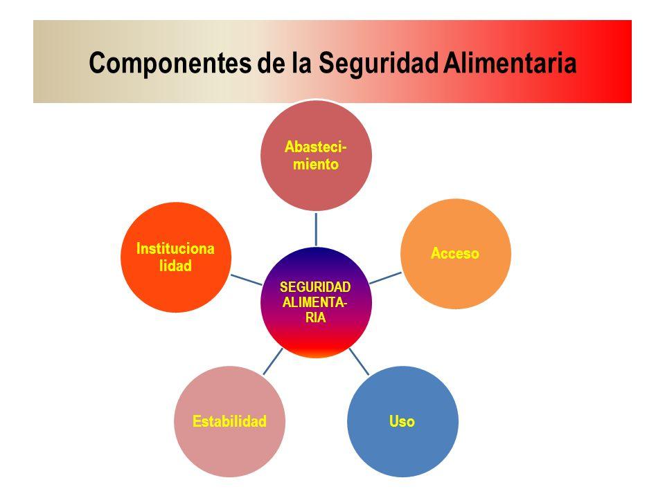 Componentes de la Seguridad Alimentaria SEGURIDAD ALIMENTA- RIA Abasteci- miento AccesoUsoEstabilidad Instituciona lidad