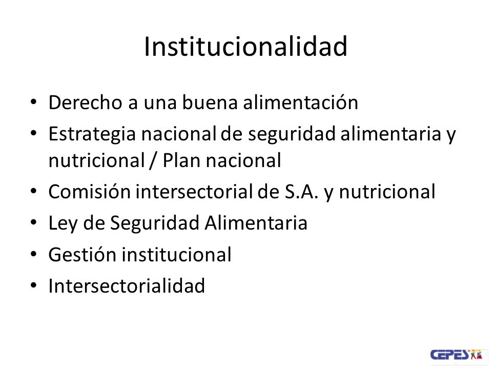 Institucionalidad Derecho a una buena alimentación Estrategia nacional de seguridad alimentaria y nutricional / Plan nacional Comisión intersectorial