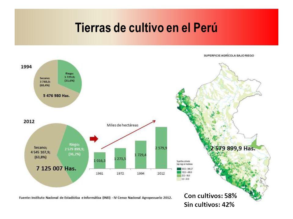Tierras de cultivo en el Perú Con cultivos: 58% Sin cultivos: 42%