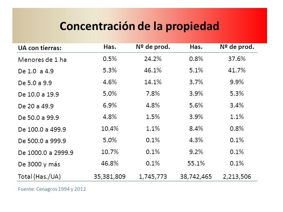 19942012 UA con tierras: Has.Nº de prod.Has.Nº de prod. Menores de 1 ha 0.5%24.2%0.8%37.6% De 1.0 a 4.9 5.3%46.1%5.1%41.7% De 5.0 a 9.9 4.6%14.1%3.7%9