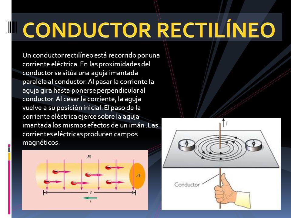 Un conductor rectilíneo está recorrido por una corriente eléctrica. En las proximidades del conductor se sitúa una aguja imantada paralela al conducto