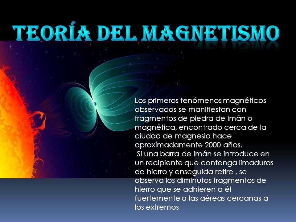 Los primeros fenómenos magnéticos observados se manifiestan con fragmentos de piedra de imán o magnética, encontrado cerca de la ciudad de magnesia ha