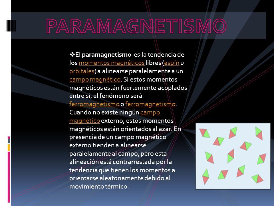 El paramagnetismo es la tendencia de los momentos magnéticos libres (espín u orbitales) a alinearse paralelamente a un campo magnético. Si estos momen