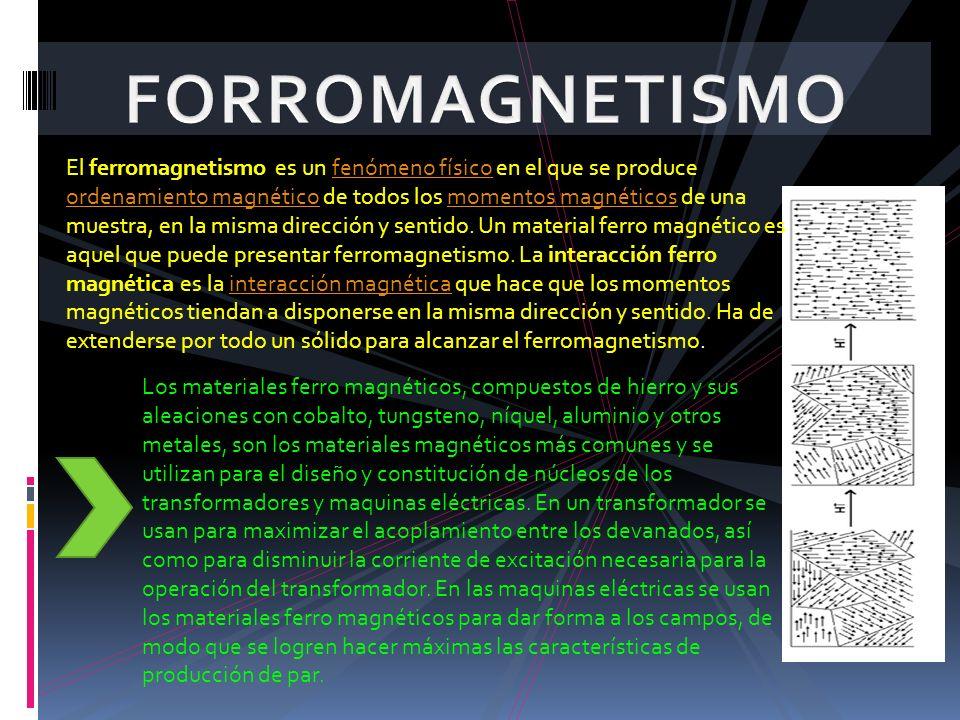 Los materiales ferro magnéticos, compuestos de hierro y sus aleaciones con cobalto, tungsteno, níquel, aluminio y otros metales, son los materiales ma