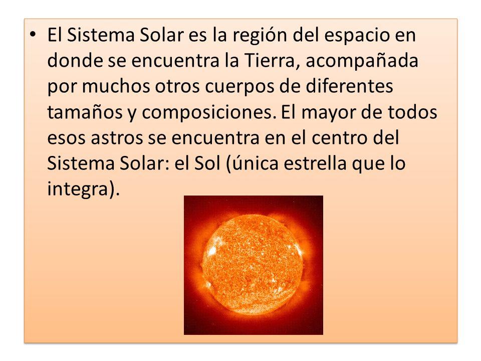 El Sistema Solar es la región del espacio en donde se encuentra la Tierra, acompañada por muchos otros cuerpos de diferentes tamaños y composiciones.