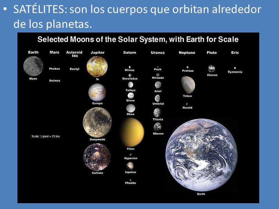 SATÉLITES: son los cuerpos que orbitan alrededor de los planetas.