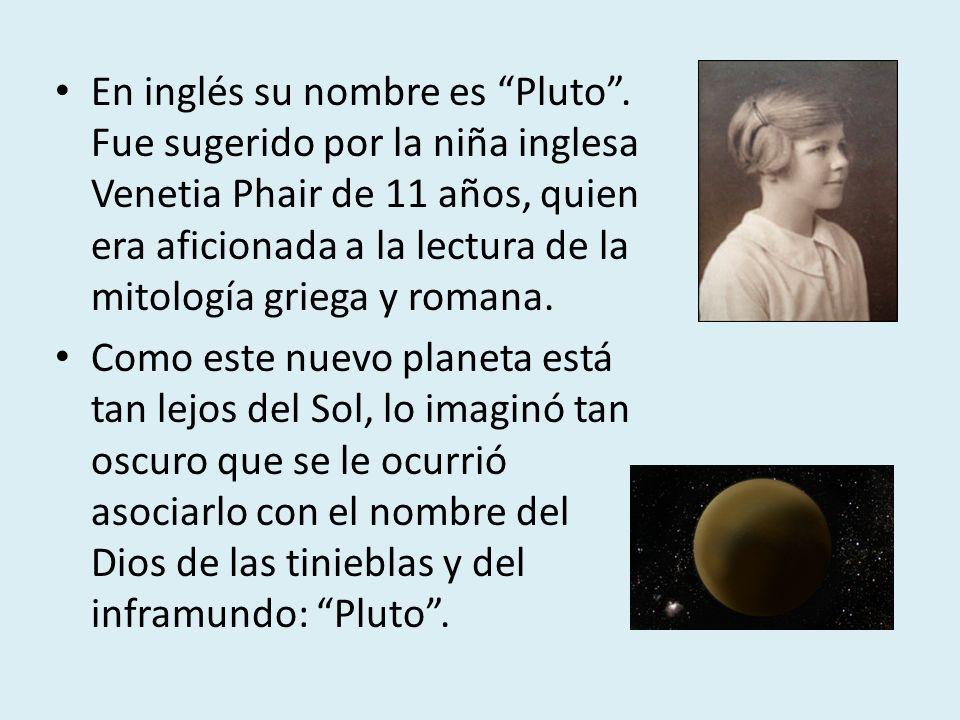 En inglés su nombre es Pluto. Fue sugerido por la niña inglesa Venetia Phair de 11 años, quien era aficionada a la lectura de la mitología griega y ro
