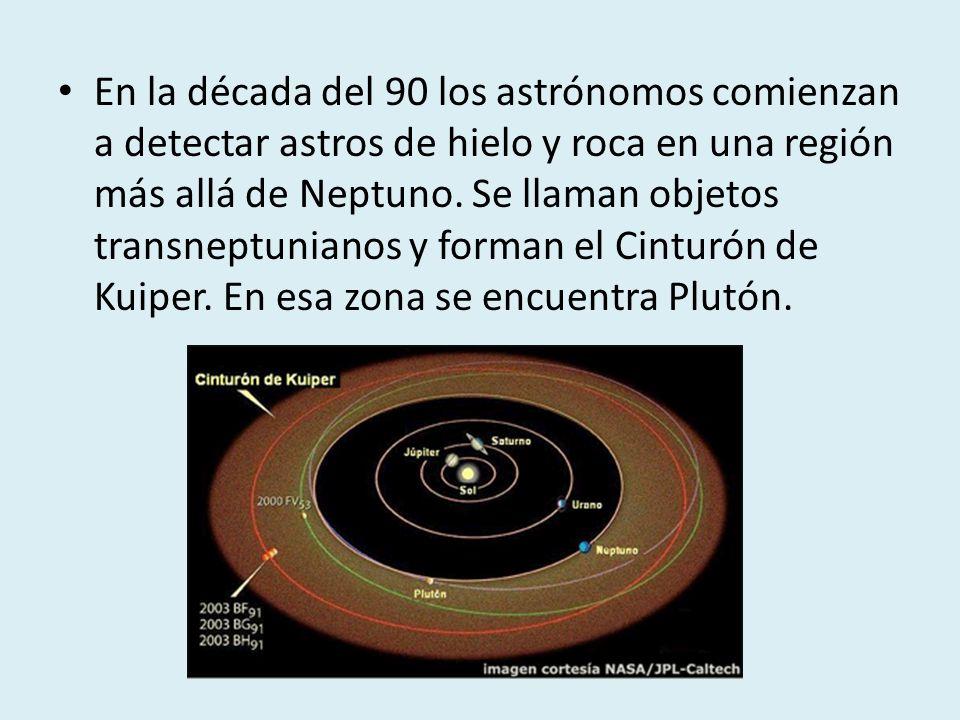 En la década del 90 los astrónomos comienzan a detectar astros de hielo y roca en una región más allá de Neptuno. Se llaman objetos transneptunianos y