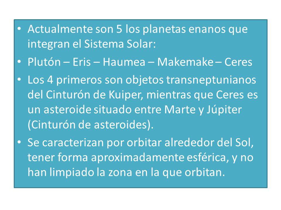 Actualmente son 5 los planetas enanos que integran el Sistema Solar: Plutón – Eris – Haumea – Makemake – Ceres Los 4 primeros son objetos transneptuni