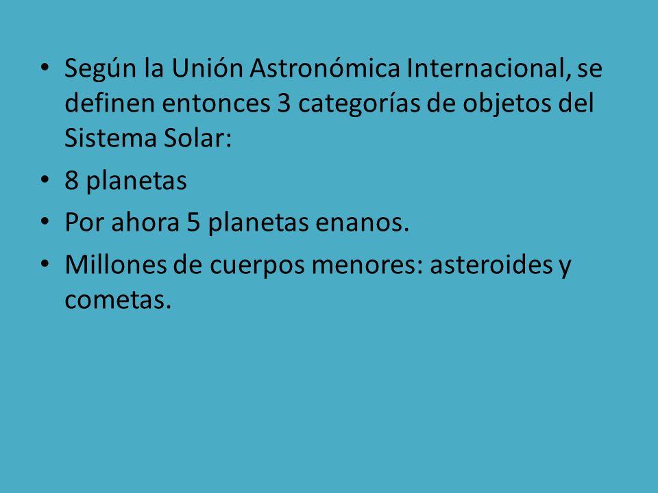 Según la Unión Astronómica Internacional, se definen entonces 3 categorías de objetos del Sistema Solar: 8 planetas Por ahora 5 planetas enanos. Millo