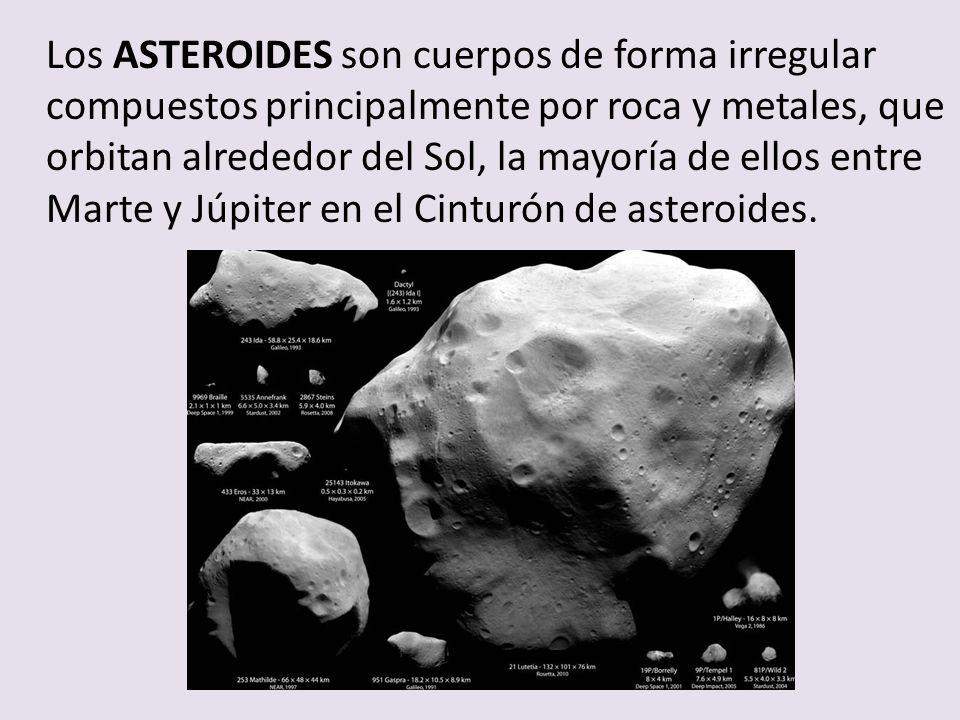 Los ASTEROIDES son cuerpos de forma irregular compuestos principalmente por roca y metales, que orbitan alrededor del Sol, la mayoría de ellos entre M