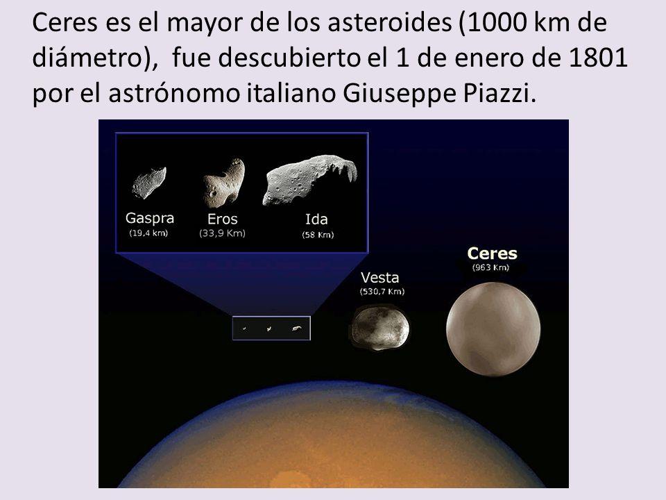 Ceres es el mayor de los asteroides (1000 km de diámetro), fue descubierto el 1 de enero de 1801 por el astrónomo italiano Giuseppe Piazzi.