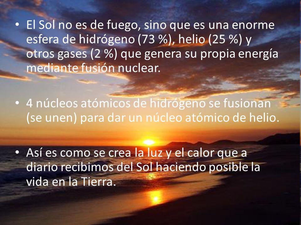 El Sol no es de fuego, sino que es una enorme esfera de hidrógeno (73 %), helio (25 %) y otros gases (2 %) que genera su propia energía mediante fusió