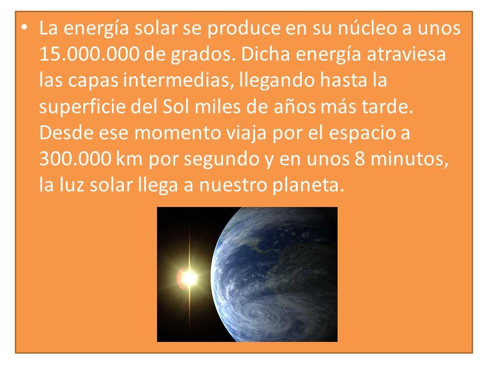 La energía solar se produce en su núcleo a unos 15.000.000 de grados. Dicha energía atraviesa las capas intermedias, llegando hasta la superficie del