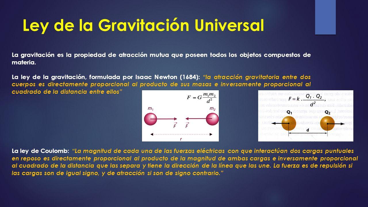 Ley de la Gravitación Universal La gravitación es la propiedad de atracción mutua que poseen todos los objetos compuestos de materia. La ley de la gra