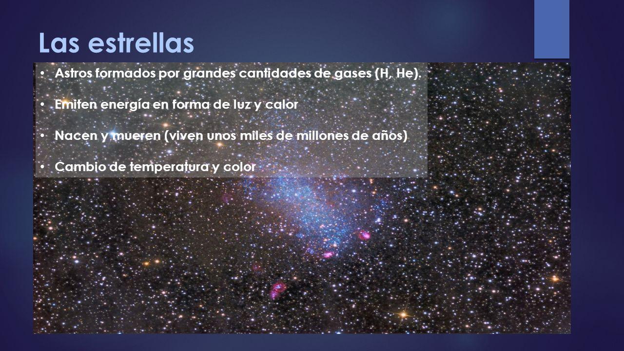 Las estrellas Astros formados por grandes cantidades de gases (H, He). Emiten energía en forma de luz y calor Nacen y mueren (viven unos miles de mill