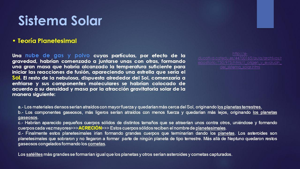 Sistema Solar Teoría Planetesimal Una nube de gas y polvo cuyas partículas, por efecto de la gravedad, habrían comenzado a juntarse unas con otras, fo