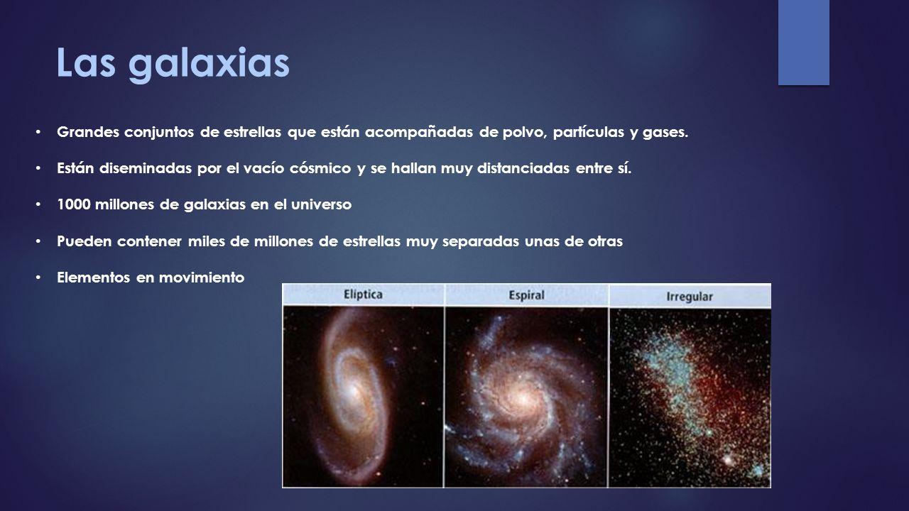 Las galaxias Grandes conjuntos de estrellas que están acompañadas de polvo, partículas y gases. Están diseminadas por el vacío cósmico y se hallan muy