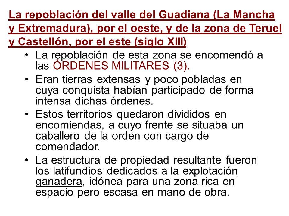 La repoblación del valle del Guadiana (La Mancha y Extremadura), por el oeste, y de la zona de Teruel y Castellón, por el este (siglo XIII) La repoblación de esta zona se encomendó a las ÓRDENES MILITARES (3).