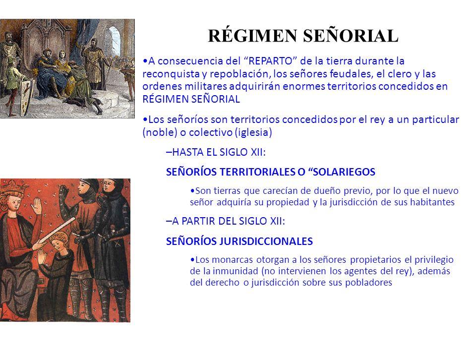 RÉGIMEN SEÑORIAL A consecuencia del REPARTO de la tierra durante la reconquista y repoblación, los señores feudales, el clero y las ordenes militares