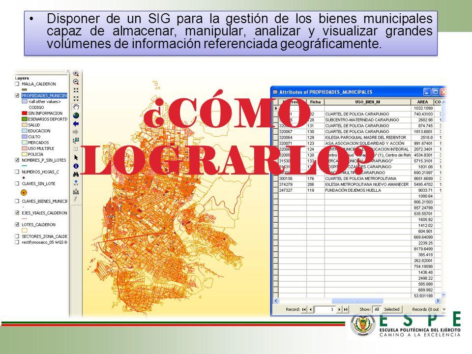 Disponer de un SIG para la gestión de los bienes municipales capaz de almacenar, manipular, analizar y visualizar grandes volúmenes de información ref