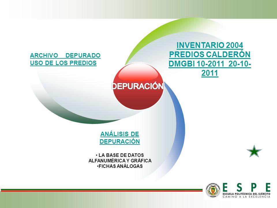 INVENTARIO 2004 PREDIOS CALDERÓN DMGBI 10-2011 20-10- 2011 ARCHIVO DEPURADO USO DE LOS PREDIOS ANÁLISIS DE DEPURACIÓN LA BASE DE DATOS ALFANUMÉRICA Y