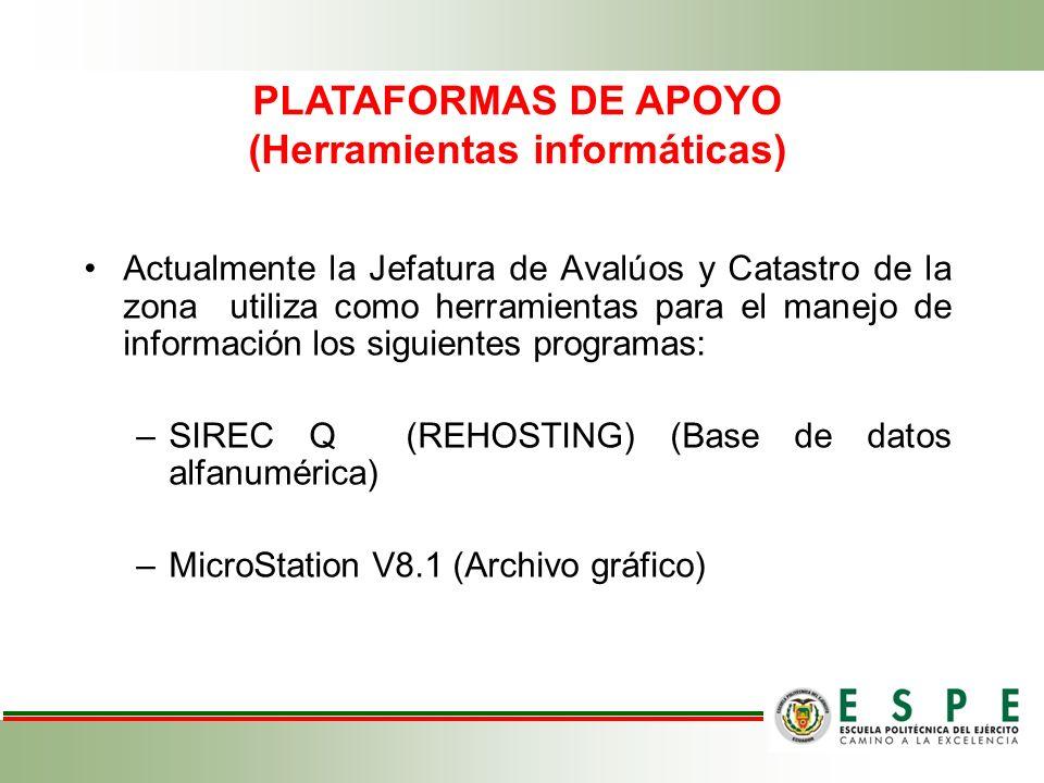 Actualmente la Jefatura de Avalúos y Catastro de la zona utiliza como herramientas para el manejo de información los siguientes programas: –SIREC Q (R