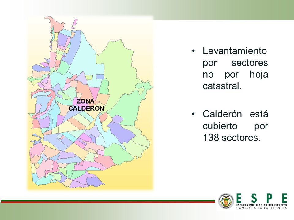 Levantamiento por sectores no por hoja catastral. Calderón está cubierto por 138 sectores.