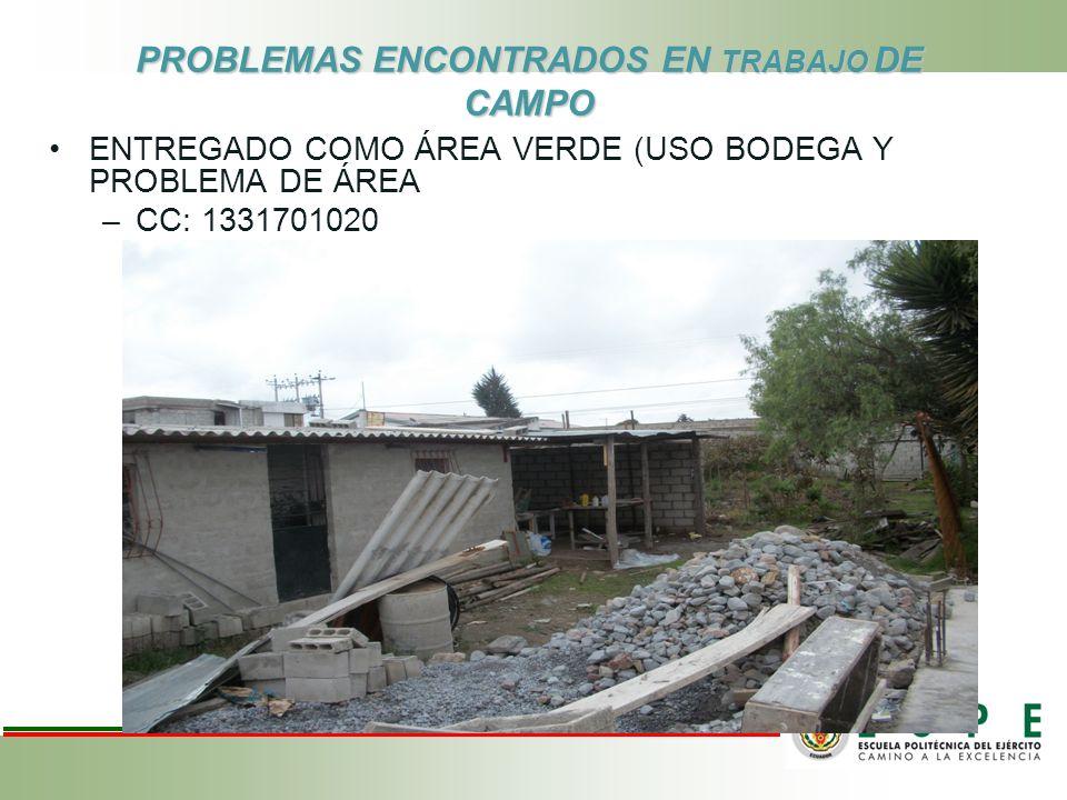 PROBLEMAS ENCONTRADOS EN TRABAJO DE CAMPO ENTREGADO COMO ÁREA VERDE (USO BODEGA Y PROBLEMA DE ÁREA –CC: 1331701020