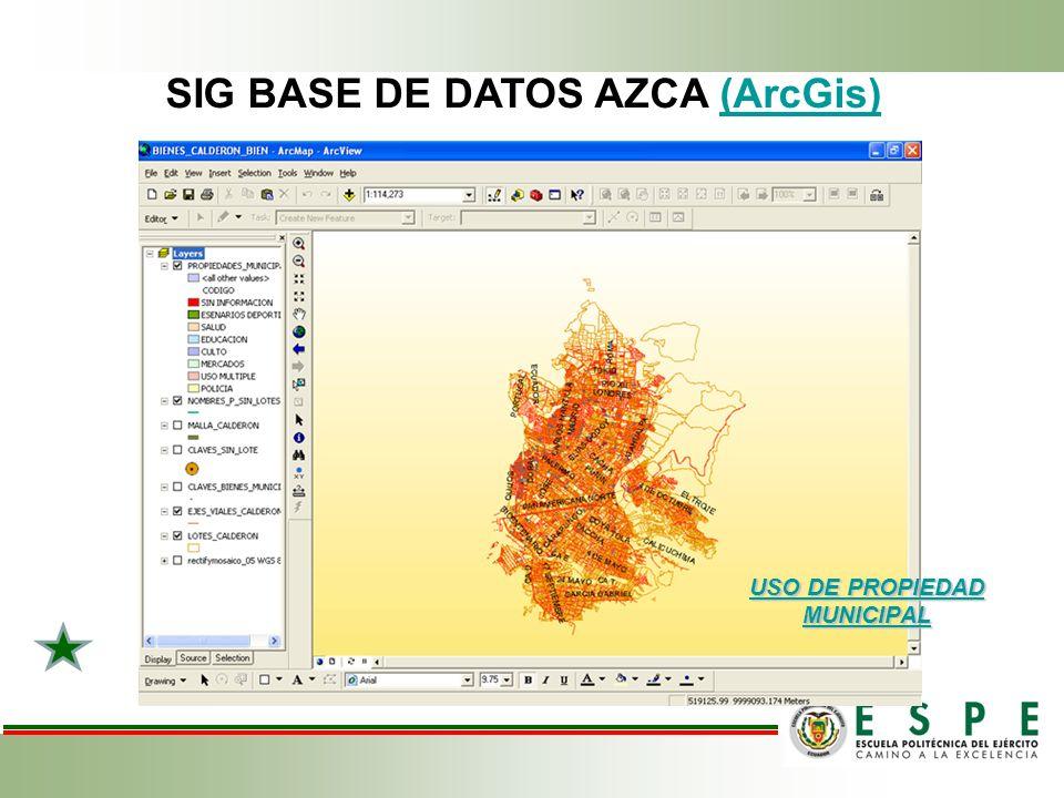 SIG BASE DE DATOS AZCA (ArcGis) USO DE PROPIEDAD MUNICIPAL USO DE PROPIEDAD MUNICIPAL