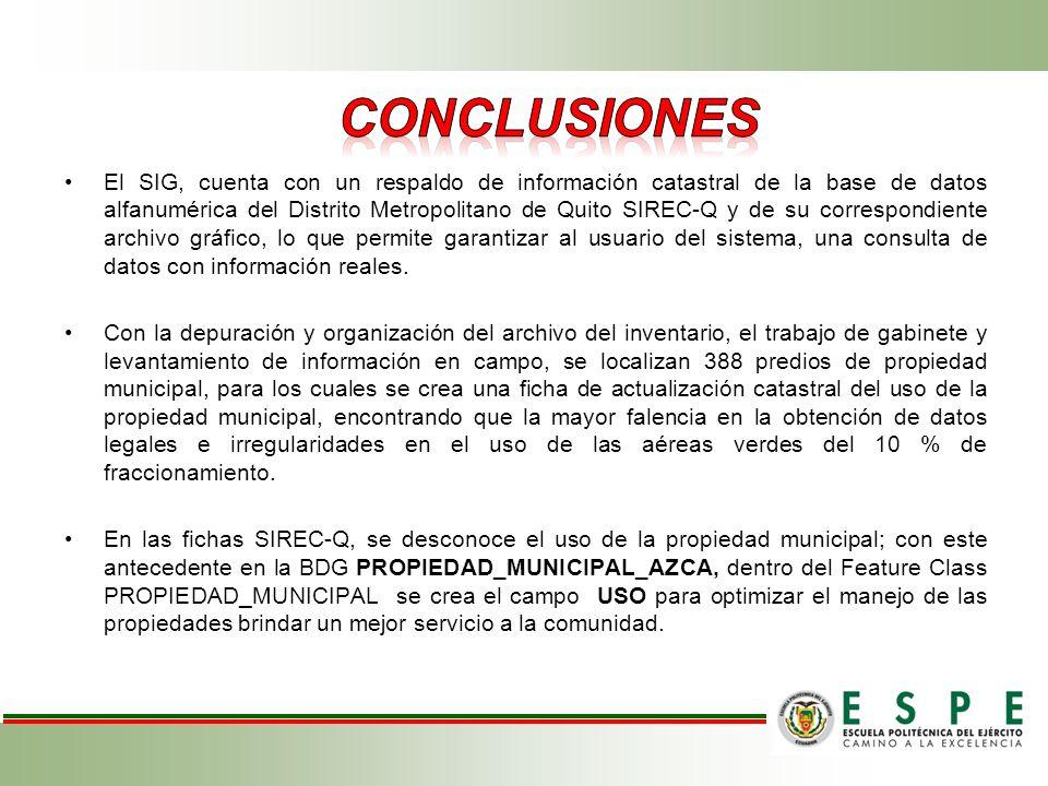 El SIG, cuenta con un respaldo de información catastral de la base de datos alfanumérica del Distrito Metropolitano de Quito SIREC-Q y de su correspon