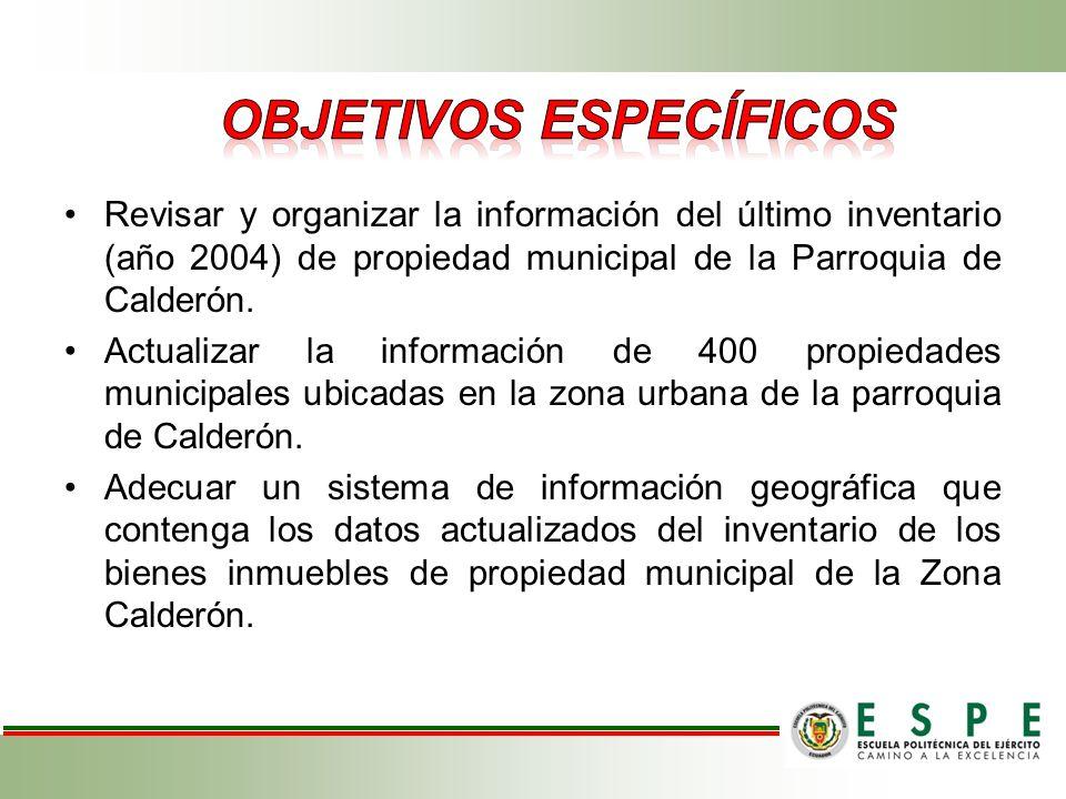 Revisar y organizar la información del último inventario (año 2004) de propiedad municipal de la Parroquia de Calderón. Actualizar la información de 4
