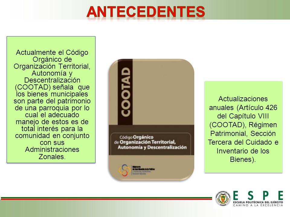 Actualmente el Código Orgánico de Organización Territorial, Autonomía y Descentralización (COOTAD) señala que los bienes municipales son parte del pat