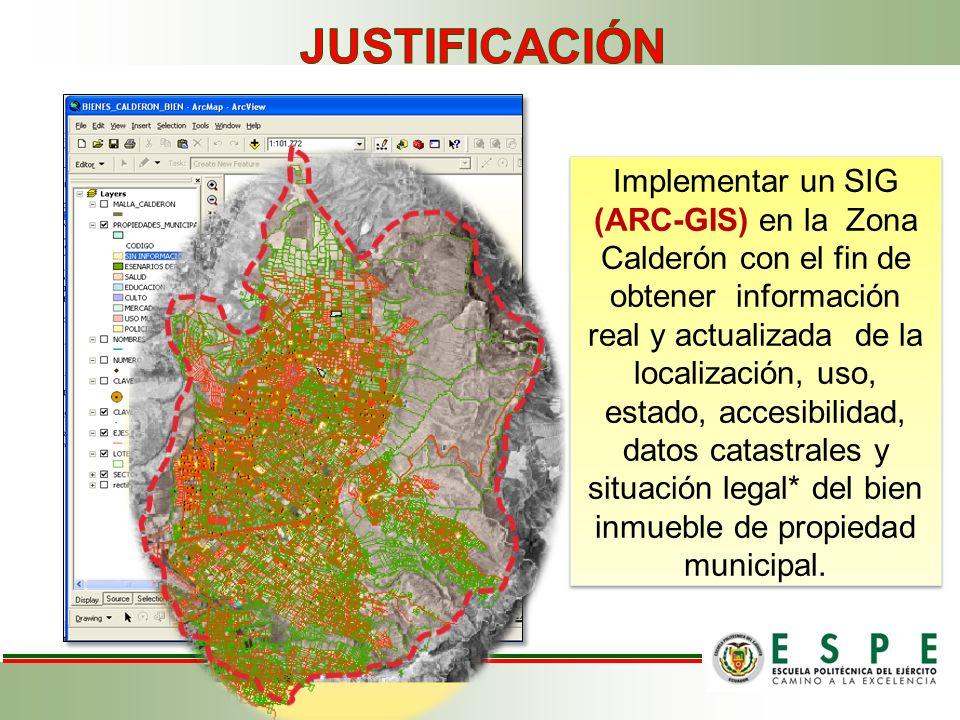 Implementar un SIG (ARC-GIS) en la Zona Calderón con el fin de obtener información real y actualizada de la localización, uso, estado, accesibilidad,
