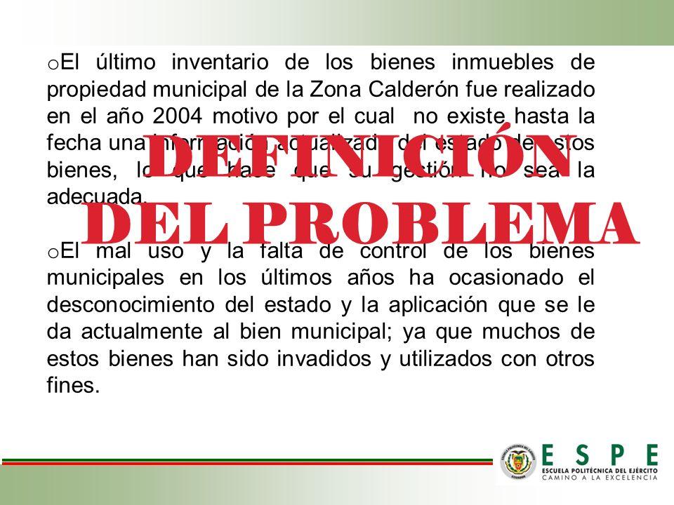 o El último inventario de los bienes inmuebles de propiedad municipal de la Zona Calderón fue realizado en el año 2004 motivo por el cual no existe ha