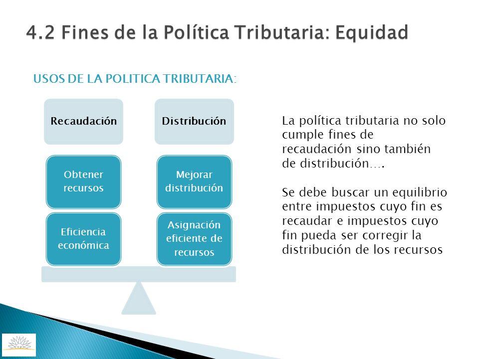 USOS DE LA POLITICA TRIBUTARIA: RecaudaciónDistribución Asignación eficiente de recursos Mejorar distribución Eficiencia económica Obtener recursos La