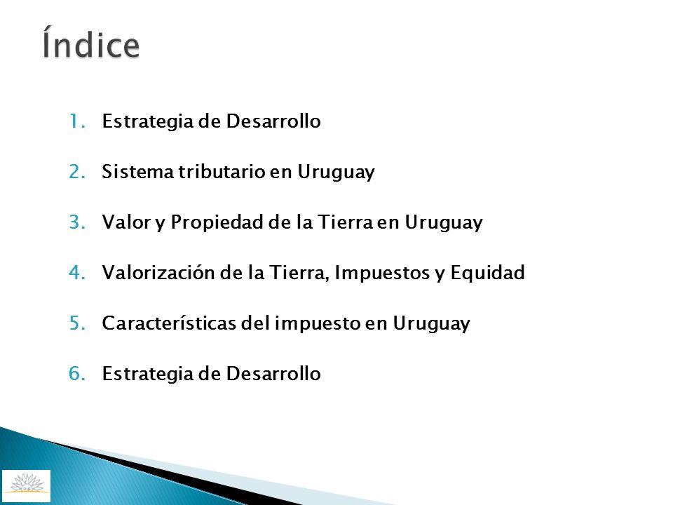 1.Estrategia de Desarrollo 2.Sistema tributario en Uruguay 3.Valor y Propiedad de la Tierra en Uruguay 4.Valorización de la Tierra, Impuestos y Equida