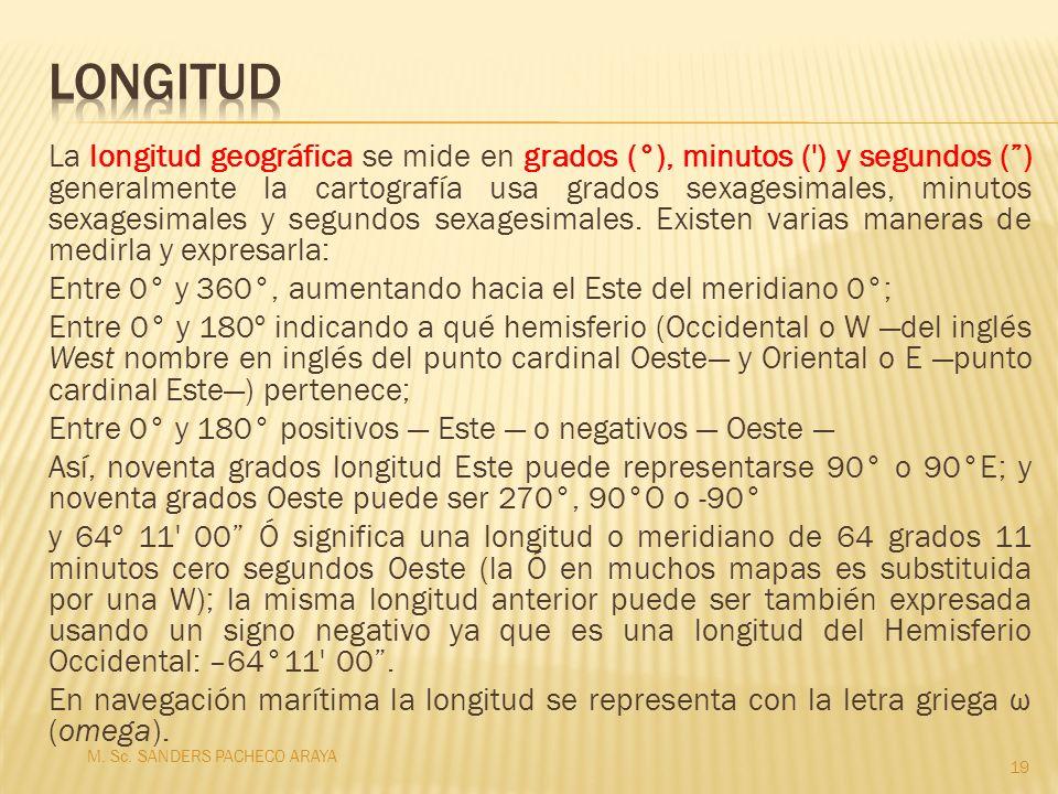 La longitud geográfica se mide en grados (°), minutos (') y segundos () generalmente la cartografía usa grados sexagesimales, minutos sexagesimales y