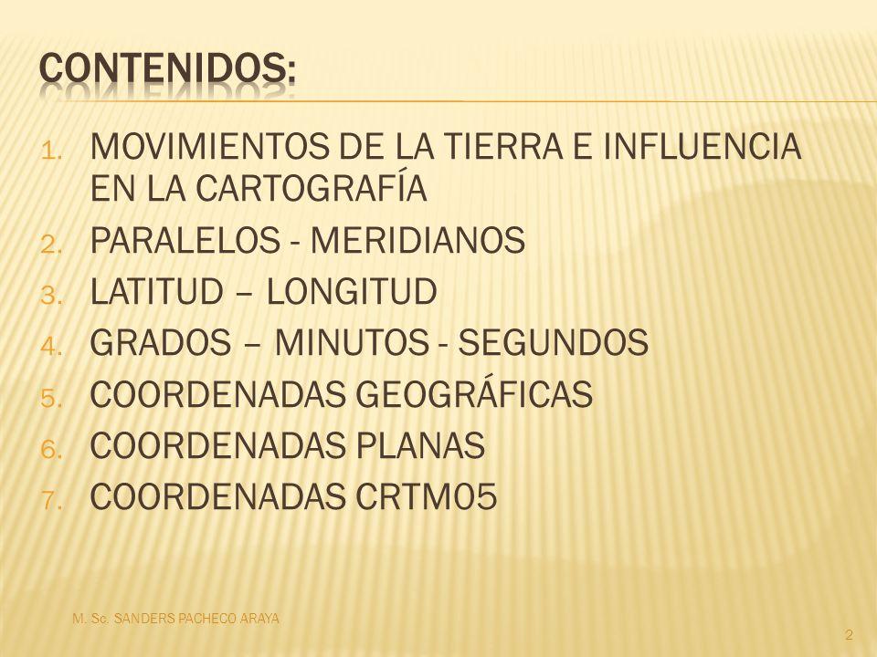 1. MOVIMIENTOS DE LA TIERRA E INFLUENCIA EN LA CARTOGRAFÍA 2. PARALELOS - MERIDIANOS 3. LATITUD – LONGITUD 4. GRADOS – MINUTOS - SEGUNDOS 5. COORDENAD