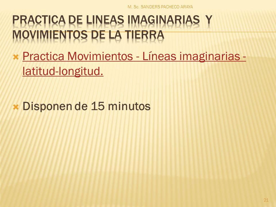 Practica Movimientos - Líneas imaginarias - latitud-longitud. Practica Movimientos - Líneas imaginarias - latitud-longitud. Disponen de 15 minutos M.