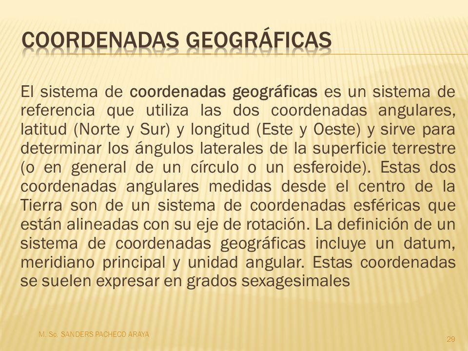 El sistema de coordenadas geográficas es un sistema de referencia que utiliza las dos coordenadas angulares, latitud (Norte y Sur) y longitud (Este y