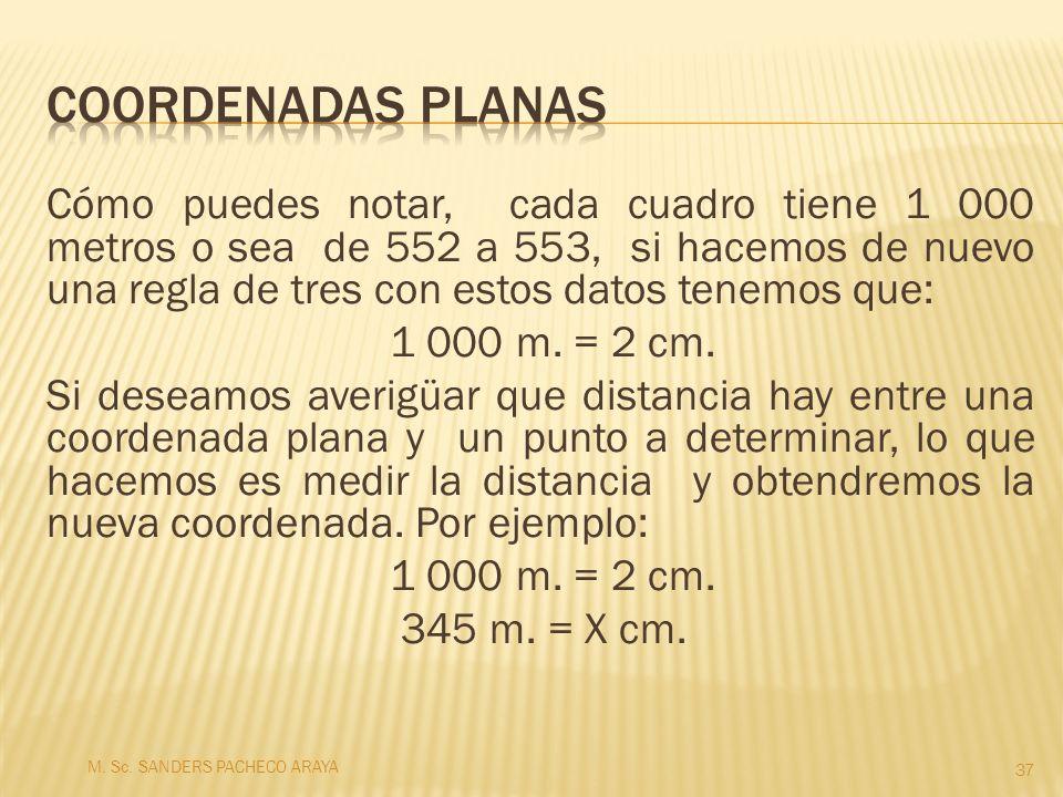 Cómo puedes notar, cada cuadro tiene 1 000 metros o sea de 552 a 553, si hacemos de nuevo una regla de tres con estos datos tenemos que: 1 000 m. = 2