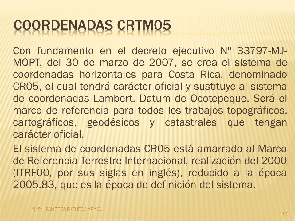 Con fundamento en el decreto ejecutivo Nº 33797-MJ- MOPT, del 30 de marzo de 2007, se crea el sistema de coordenadas horizontales para Costa Rica, den