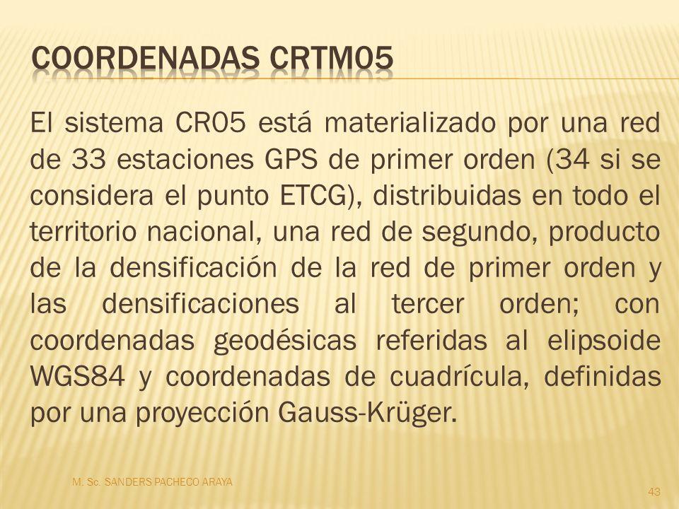 El sistema CR05 está materializado por una red de 33 estaciones GPS de primer orden (34 si se considera el punto ETCG), distribuidas en todo el territ