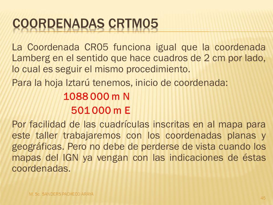 La Coordenada CR05 funciona igual que la coordenada Lamberg en el sentido que hace cuadros de 2 cm por lado, lo cual es seguir el mismo procedimiento.