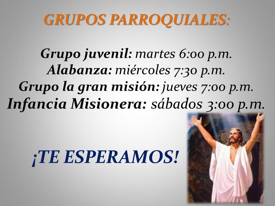 GRUPOS PARROQUIALES: Grupo juvenil: martes 6:00 p.m. Alabanza: miércoles 7:30 p.m. Grupo la gran misión: jueves 7:00 p.m. Infancia Misionera: sábados