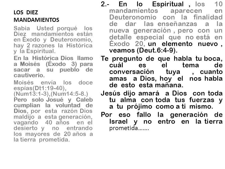 LOS DIEZ MANDAMIENTOS 2.- En lo Espiritual, los 10 mandamientos aparecen en Deuteronomio con la finalidad de dar las enseñanzas a la nueva generación,