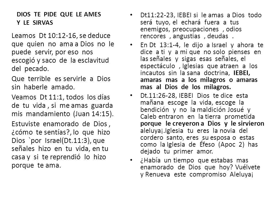 DIOS TE PIDE QUE LE AMES Y LE SIRVAS Dt11:22-23, IEBEI si le amas a Dios todo será tuyo, el echará fuera a tus enemigos, preocupaciones, odios rencore