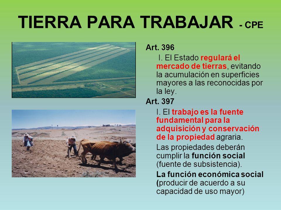 TIERRA PARA TRABAJAR - CPE Art. 396 I. El Estado regulará el mercado de tierras, evitando la acumulación en superficies mayores a las reconocidas por