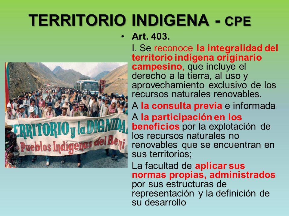 TERRITORIO INDIGENA - CPE Art. 403. I. Se reconoce la integralidad del territorio indígena originario campesino, que incluye el derecho a la tierra, a